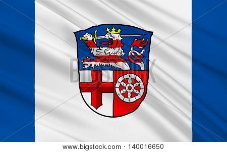 Flag of Heppenheim is the seat of Bergstrasse district in Hesse Germany. 3d illustration