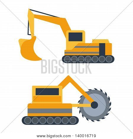 Vector illustration with cartoon flat mining drill machine and excavator. Mining equipment. Isolated flat industrial technology. Vector background for industrial mining technology. Heavy equipment