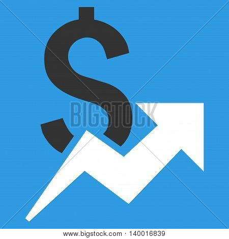 Dollar Growth vector icon. Style is flat symbol, white color, blue background.