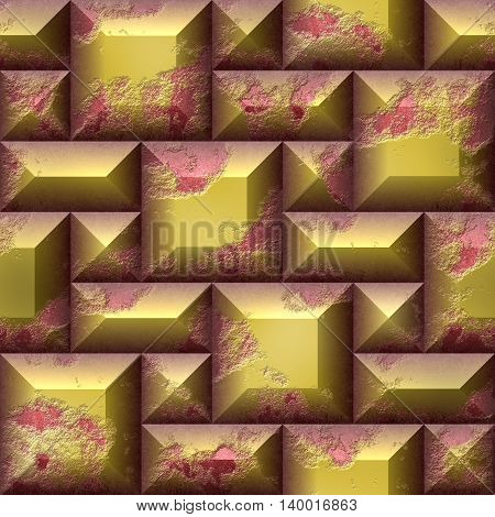 Abstract seamless relief pattern of gold and pink scratched squares and rectangles. 3d mosaic pattern of weathered cubes and beveled rectangles