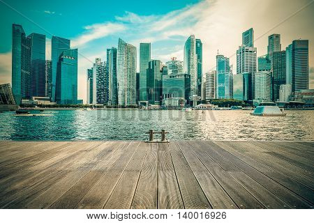 Vintage image of Singapore city skyline of business district downtown in daytime.