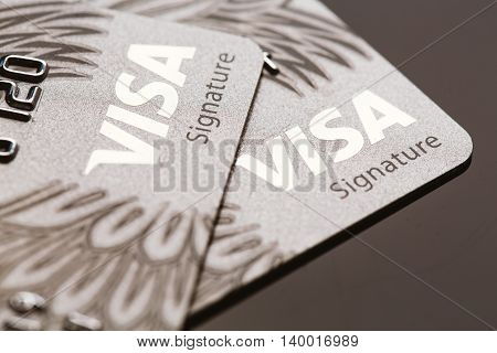 Samara, Russia-july 25.2016: Visa Signature Credit Card Close-up