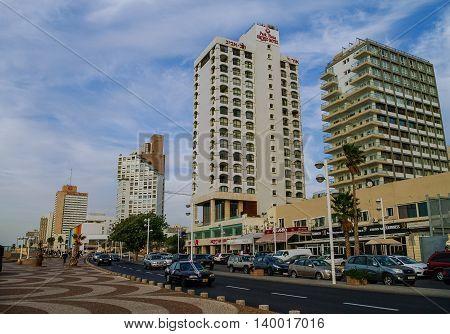 Tel-Aviv, Israel- December 9, 2010: View of modern houses and cars traffic on sea embankment city of Tel- Aviv