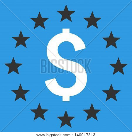 Dollar Stars vector icon. Style is flat symbol, white color, blue background.