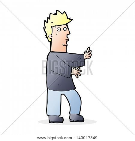 cartoon nervous man waving