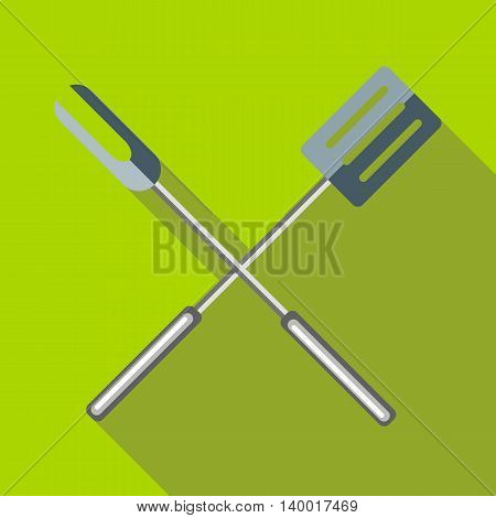 Barbeque fork and spatula icon in flat style on a green background