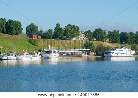 LAPPEENRANTA, FINLAND - AUGUST 09, 2015: A view of the customs house in the harbour of Lappeenranta, summer day. Tourist landmark