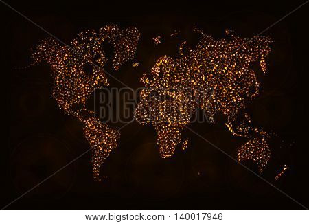 Map Illustration Icon, Gold Color Lights Silhouette on Dark Background. Glowing Lines and Points