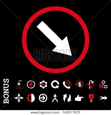 Down-Right Rounded Arrow vector bicolor icon. Image style is a flat pictogram symbol, red and white colors, black background.