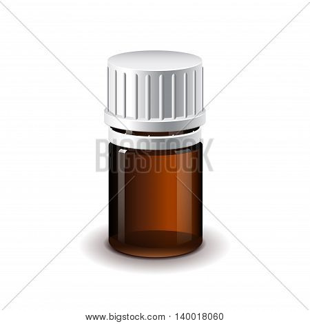 Small medical dark glass bottle for pills isolated realistic vector illustration