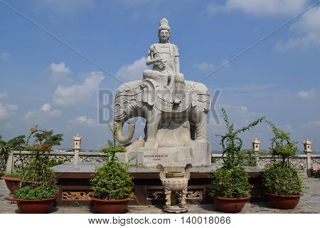 statue of buddha riding elephant in Chau Thoi temple in Binh Duong province Vietnam