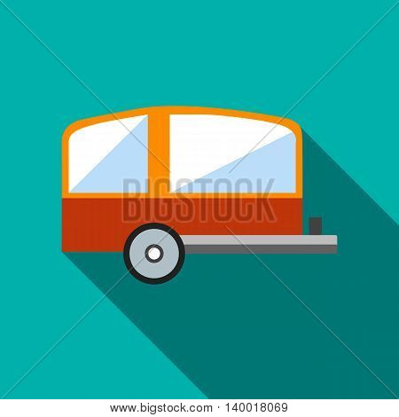 Camping trailer icon in flat style on a turquoise background