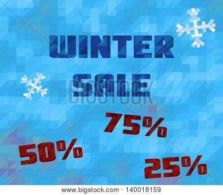Vector background with winter sale text. Low poly blue abstract texture. With snowflakes and numbers.