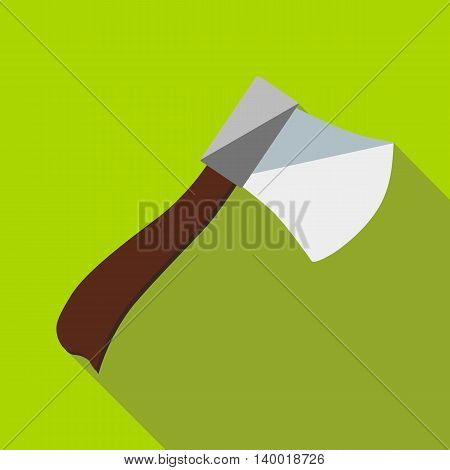 Wooden axe icon in flat style on a green background