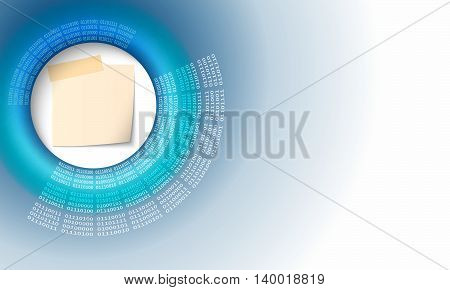 Abstract background with code and paper on notes