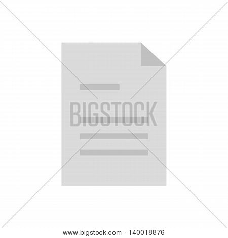Flat icon document with lines. Vector illustration.
