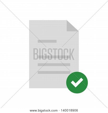 Flat icon approved document with checkmark. Vector illustration.