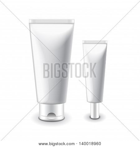 White cosmetic tubes for cream isolated vector illustration