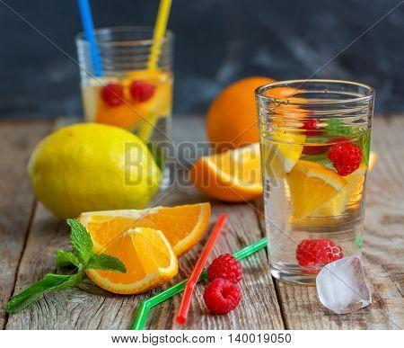 Glass Of Lemonade With Fruit.