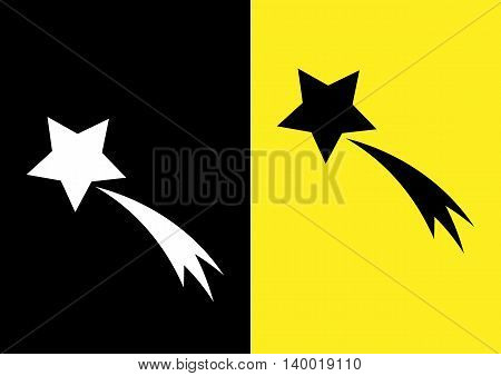 Schematic picture of the comet. Star and trail. Icon on a black and yellow background. Abstract.