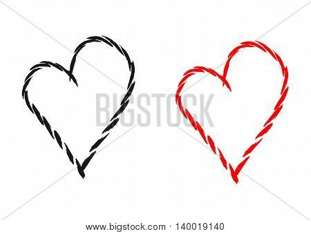 Silhouette of the heart drawn by individual brush strokes. Black and red isolated element. Abstract.