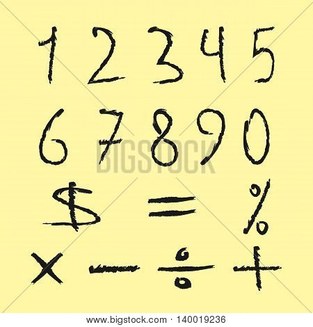 Set of black numbers and mathematical signs. Figures drawn scruffy brush. Isolated on yellow background. Grunge.