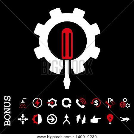 Engineering vector bicolor icon. Image style is a flat iconic symbol, red and white colors, black background.