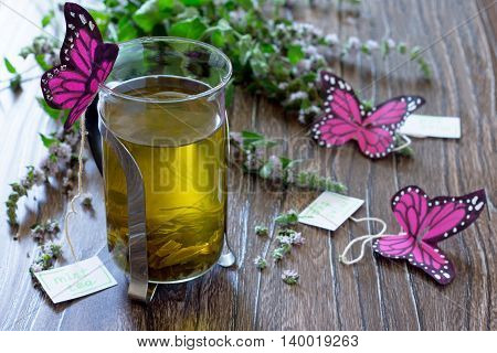 Background Decoration Paper Butterflies In A Glass Of Mint Tea. Peppermint Tea, Decorative Butterfly
