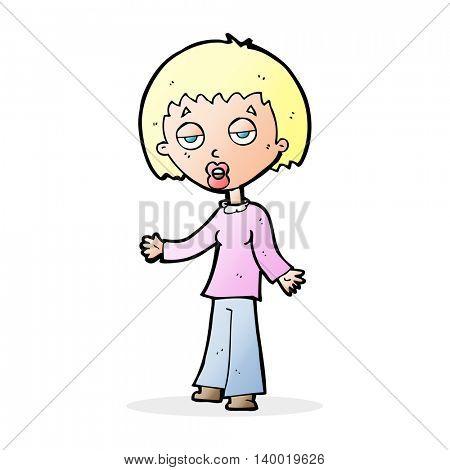 cartoon tired woman
