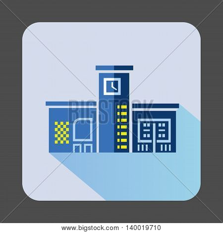 Blue public building with a clock icon in flat style on a light blue background
