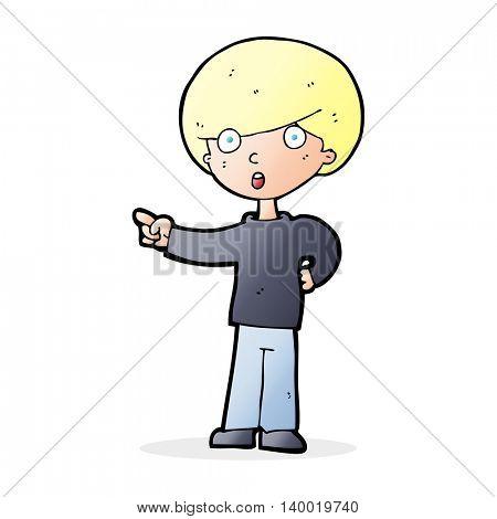 cartoon pointing boy