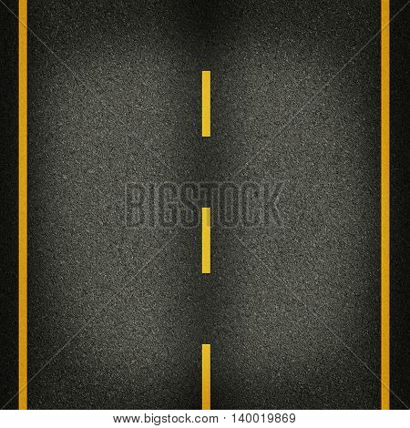 seamless texture highway asphalt road with yellow stripes 2d illustration