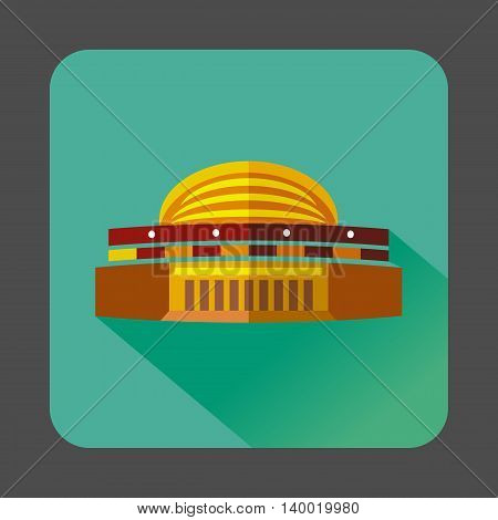 Round colorful building icon in flat style on a turquoise background