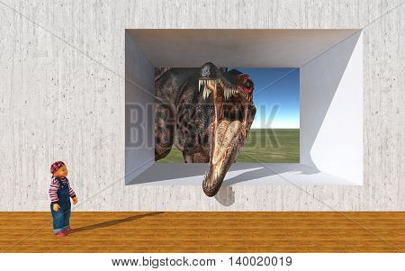 Computer generated 3D illustration with a child and the dinosaur Spinosaurus looking at opened concrete wall