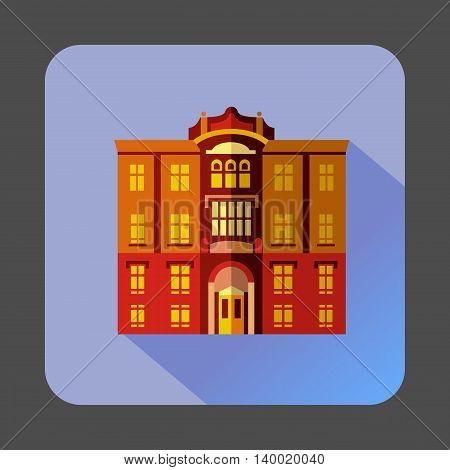 Majestic colorful building icon in flat style on a lilac background
