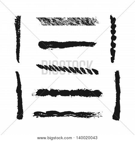 Nine isolated brush strokes painted with a brush. Grunge line. Abstract.
