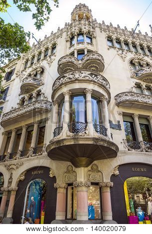 BARCELONA SPAIN - JULY 5 2016: Casa Lleo Morera in Barcelona Spain. Was built in 1902--1906 by Catalan architect Domenech i Montaner.
