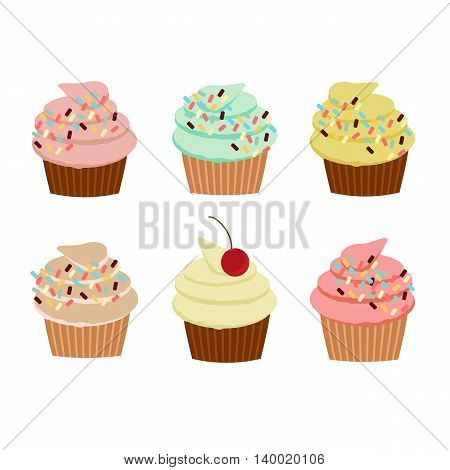 Colorful vector illustration with cupcakes and sprinkles.