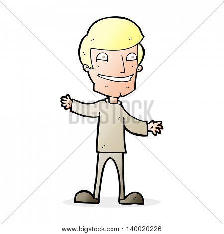 cartoon grinning man