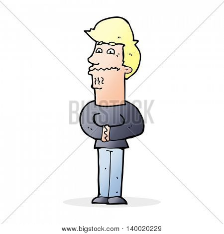 cartoon nervous man