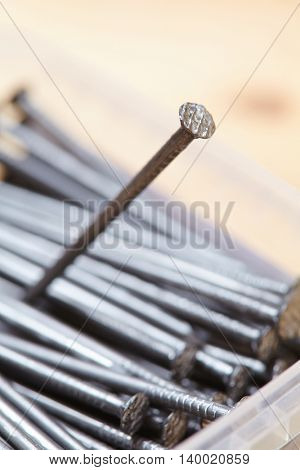 nails on the wood background