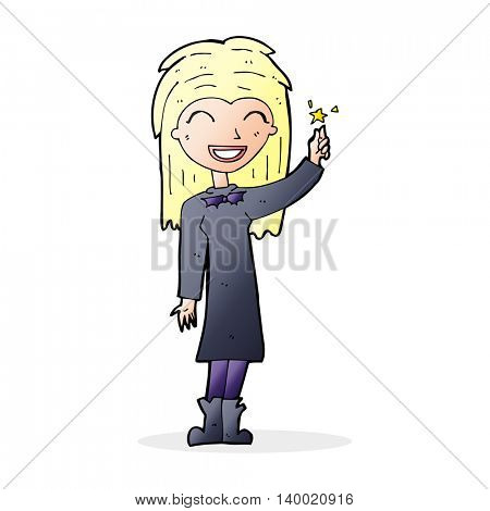 cartoon friendly witch girl