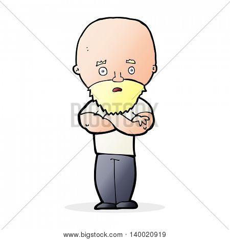 cartoon shocked bald man with beard