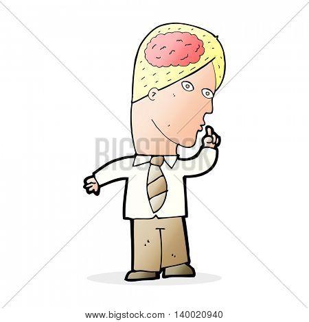 cartoon businessman with huge brain