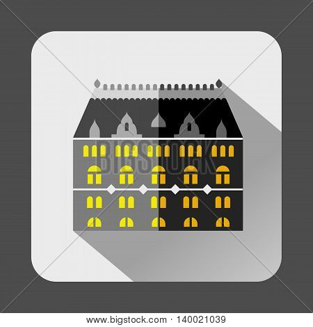 Grey building with arched windows icon in flat style on a white background
