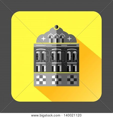 Mosque building icon in flat style on a yellow background