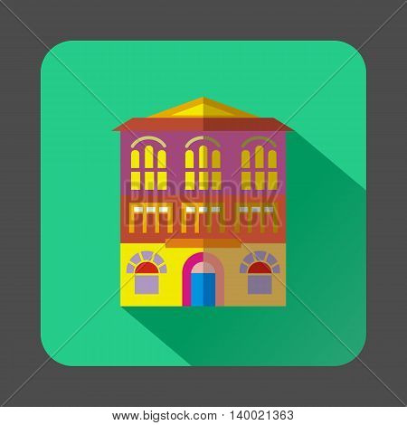 Colorful building icon in flat style on a mint background