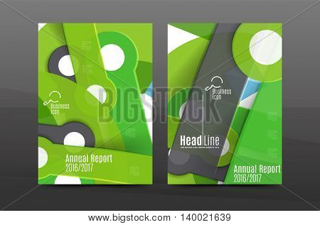 Multipurpose A4 flyer or annual report layout. Various geometric shapes design. A4 size page