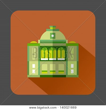 The building with the dome icon in flat style on a russet background