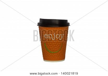 Orange paper glass for hot drinks with the inscription enjoy